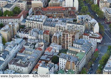High Angle View Of The Dense Architecture Of Paris, France