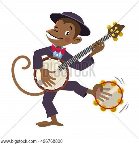 Monkey With Banjo. Jazz Band With Animals.