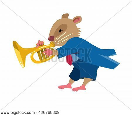 Hamster Play Trumpet. Jazz Band With Animals