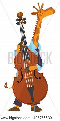 Girafe Play Double Bass. Jazz Band With Animals.