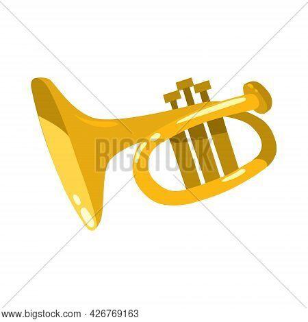 The Trumpet. Brass Instrument Funny Vector Illustration