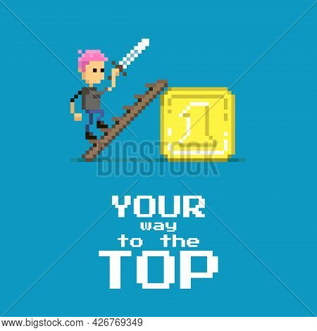 Colorful Simple Flat Pixel Art Illustration Of Cartoon Character With A Sword In His Hands Climbing