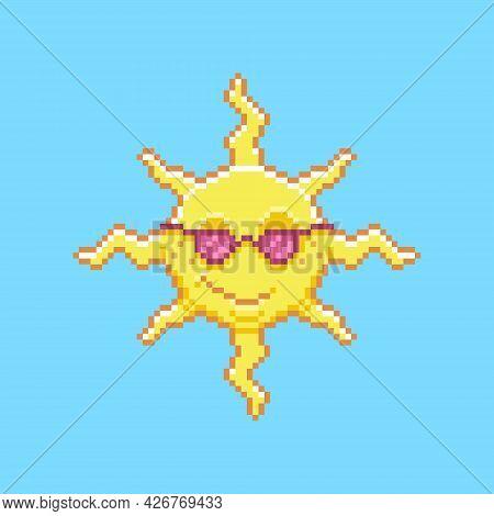 Colorful Simple Flat Pixel Art Illustration Of Cartoon Smiling Sun Wearing Sunglasses
