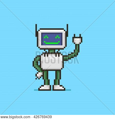 Colorful Simple Flat Pixel Art Illustration Of Cartoon Smiling Humanoid Robot With A Display Instead