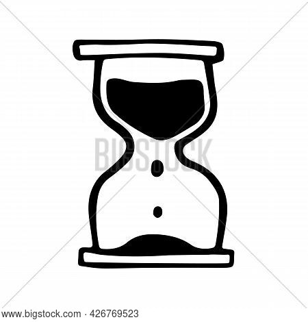 Sandglass In Doodle Style. Hand Drawn Vector Sign Of Hourglass. Symbol Of Deadline Or Endurance.