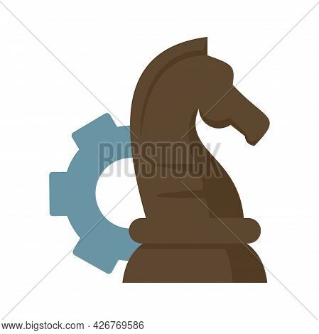 Gear Chess Horse Icon. Flat Illustration Of Gear Chess Horse Vector Icon Isolated On White Backgroun