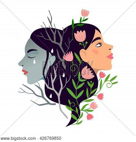 Two Women With Different States Of Consciousness Mind Depression And Positive Mental Health. Burnout