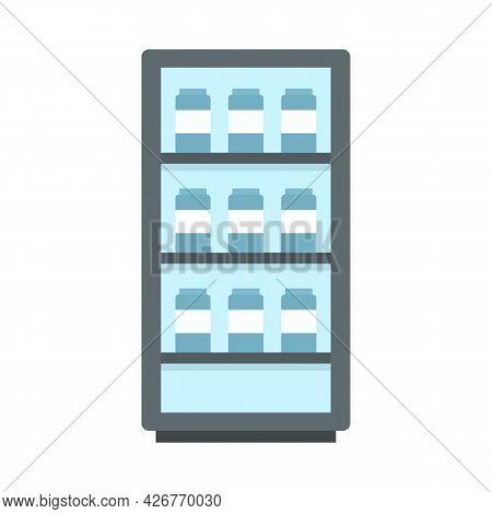 Milk Fridge Icon. Flat Illustration Of Milk Fridge Vector Icon Isolated On White Background