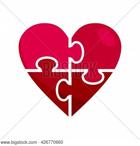Heart Jigsaw Icon. Flat Illustration Of Heart Jigsaw Vector Icon Isolated On White Background