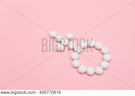 Female Gender Symbol Made From White Pills - Womens Health And Medicine, Medicaments For Women, Lyin