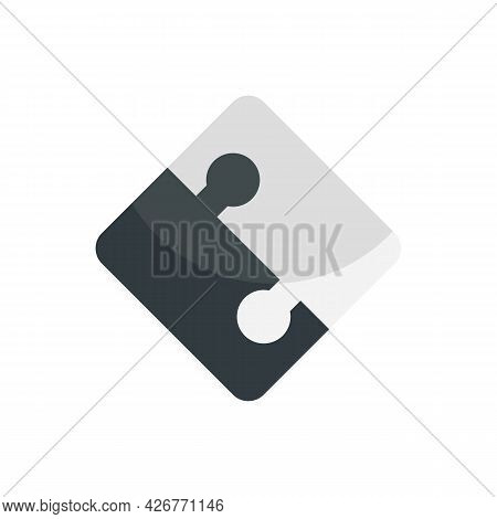 Half Part Puzzle Icon. Flat Illustration Of Half Part Puzzle Vector Icon Isolated On White Backgroun