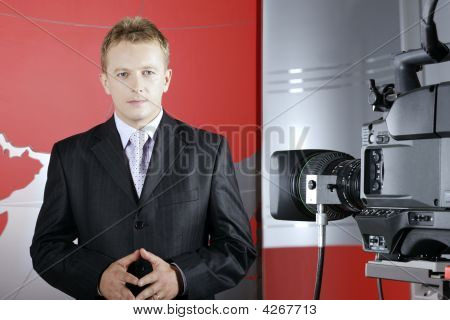 Television Presenter In Fron Of The Camera
