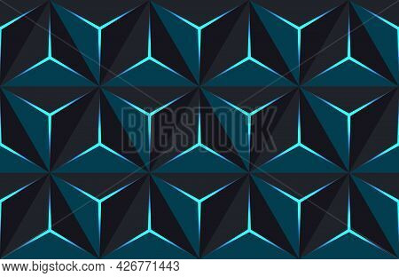 Geometric 3d Pattern With Basic Shapes. Background With Luxury Dark Polygonal Texture And Blue Trian