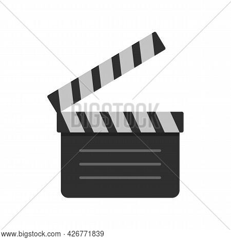 Film Clapper Icon. Flat Illustration Of Film Clapper Vector Icon Isolated On White Background