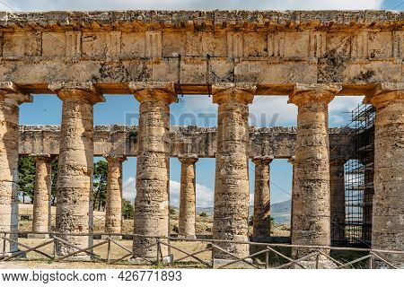 Doric Temple Of Segesta,sicily,italy.european Archeological Historical Site Surrounded By Green And