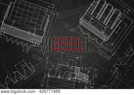 Mechanical Engineering Drawings On Black Background. Cutting Tools, Milling Cutter. Technical Design