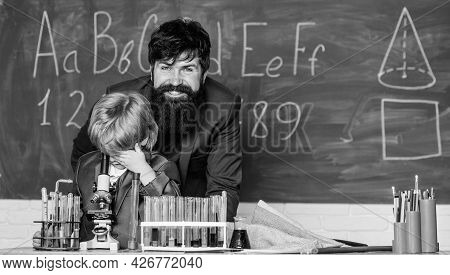 Knowledge Day. My Father Is Scientist. Teacher Bearded Man Father And Child Test Tubes. Study Chemis