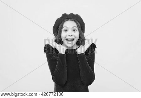 Happy Surprised Girl In Vintage French Beret Express Positive Emotions, Surprise