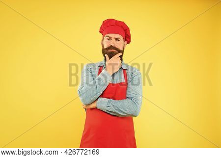 Chef In Red Uniform Restaurant Cook Readily Providing Dish