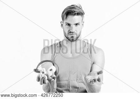 Man Guy Listening Music Headphones White Background. Music Fan Concept. Modern Technology. Buy Music
