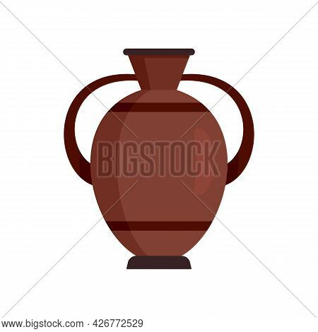 Greek Water Jug Icon. Flat Illustration Of Greek Water Jug Vector Icon Isolated On White Background