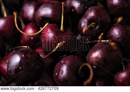 Close Up Of A Pile Of Ripe Sweet Cherries With Stalks.