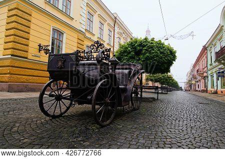 Chernivtsi, Ukraine-may 14, 2021:scenic Foggy Morning Landscape View Of Famous Pedestrian Olga Kobyl