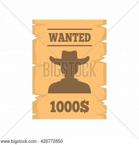 Western Wanted Paper Icon. Flat Illustration Of Western Wanted Paper Vector Icon Isolated On White B