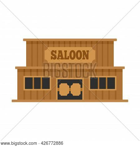 Western Saloon Icon. Flat Illustration Of Western Saloon Vector Icon Isolated On White Background