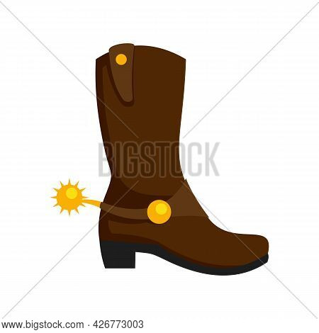 Cowboy Boot Icon. Flat Illustration Of Cowboy Boot Vector Icon Isolated On White Background