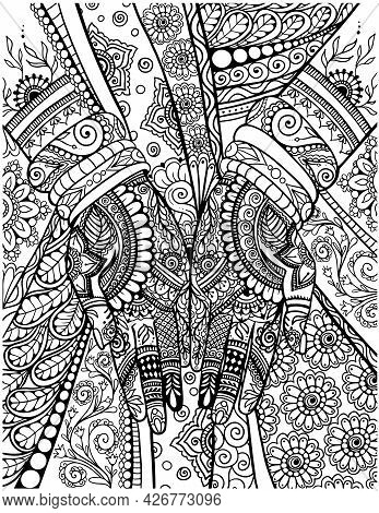 Mehndi Hands Detailed Adult Coloring Book Page, Indian Design Coloring Pages