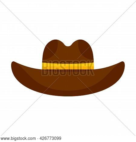 Cowboy Hat Icon. Flat Illustration Of Cowboy Hat Vector Icon Isolated On White Background