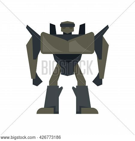 Futuristic Robot Transformer Icon. Flat Illustration Of Futuristic Robot Transformer Vector Icon Iso