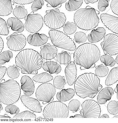 Marine Seamless Pattern From Hand Drawn Sea Shells Scallop. Nautical Vector Pattern In Line Art Styl