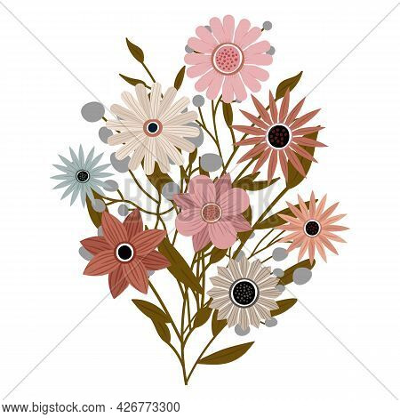A Bouquet Of Different Beautiful Wildflowers With Leaves From The Garden. Various Flowering Plants W