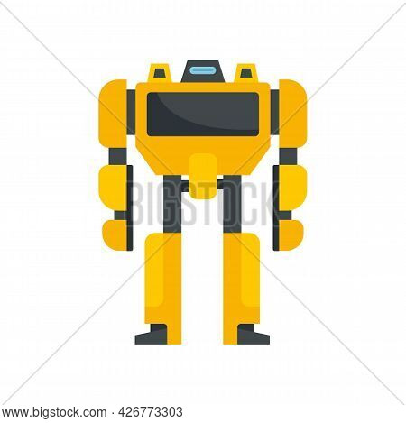 Toy Robot Transformer Icon. Flat Illustration Of Toy Robot Transformer Vector Icon Isolated On White