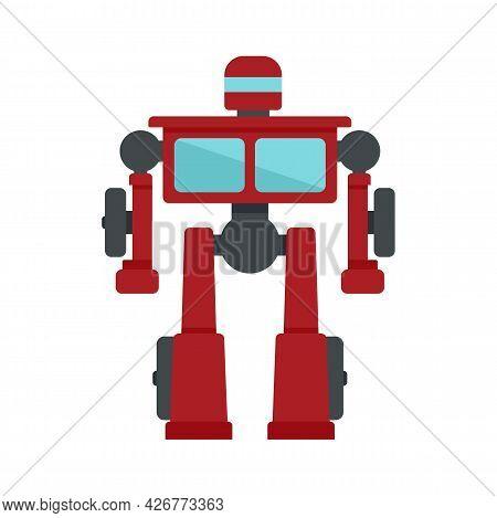 Truck Robot Transformer Icon. Flat Illustration Of Truck Robot Transformer Vector Icon Isolated On W