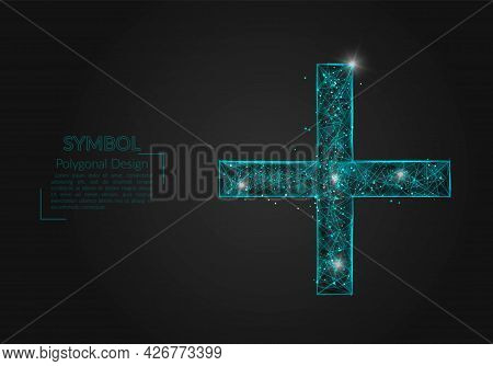 Abstract Isolated Blue Image Of A Plus Or Cross Sign. Polygonal Illustration Looks Like Stars In The