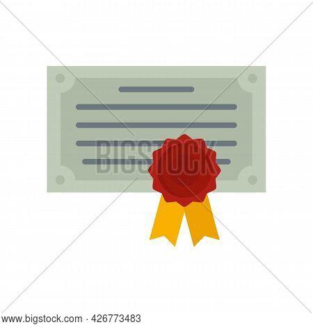 Exam Diploma Icon. Flat Illustration Of Exam Diploma Vector Icon Isolated On White Background