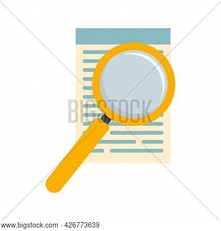 Paper Under Magnifier Icon. Flat Illustration Of Paper Under Magnifier Vector Icon Isolated On White