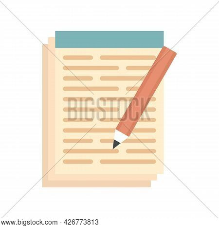 Pen Paper Notebook Icon. Flat Illustration Of Pen Paper Notebook Vector Icon Isolated On White Backg