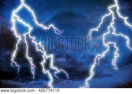 Severe Thunderstorm Weather Watch Dramatic Sky Powerful Strikes 3d Illustration