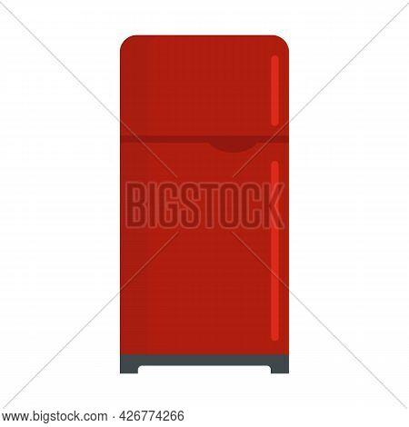 Retro Fridge Icon. Flat Illustration Of Retro Fridge Vector Icon Isolated On White Background