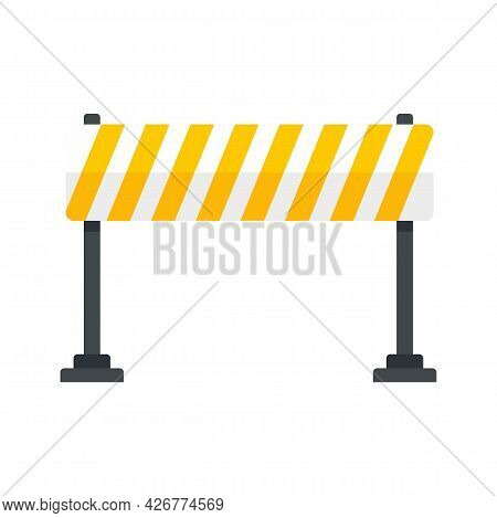 Road Barrier Line Icon. Flat Illustration Of Road Barrier Line Vector Icon Isolated On White Backgro