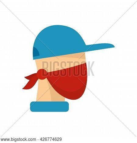 Masked Protester Icon. Flat Illustration Of Masked Protester Vector Icon Isolated On White Backgroun
