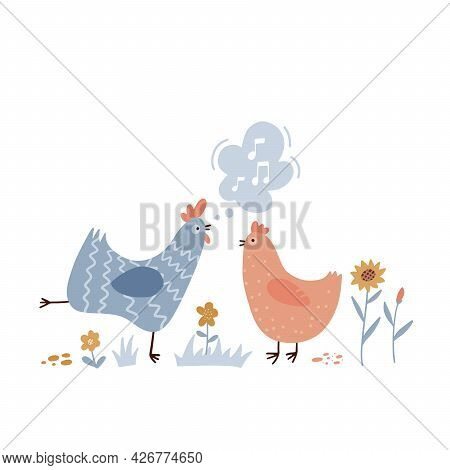 Rooster Singing Songs For Hen. Cute And Funny Chicken Listening To Crowing. Colorful Flat Hand Drawn