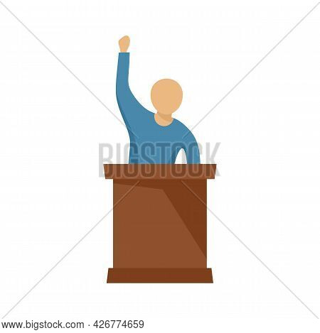 Speaking Protester Icon. Flat Illustration Of Speaking Protester Vector Icon Isolated On White Backg