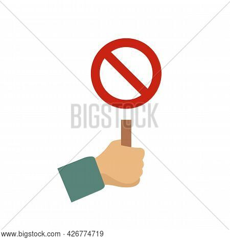 Hand Hold Stop Sign Icon. Flat Illustration Of Hand Hold Stop Sign Vector Icon Isolated On White Bac