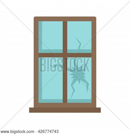 Broken Window Icon. Flat Illustration Of Broken Window Vector Icon Isolated On White Background