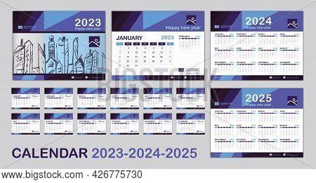 Calendar 2023, 2024, 2025 Year Template, Set Desk Calendar 2023 Template, Happy New Year, Minimal Tr